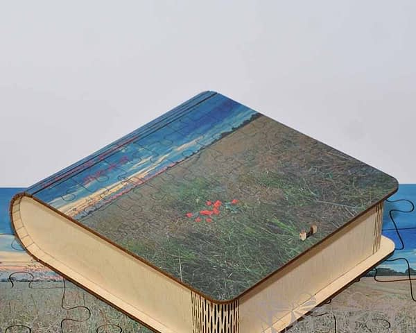 Medinė dėžutė dėlionei 15x15x5cm