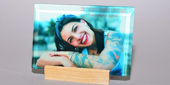 Ant stiklo Jūsų nuotrauka  10x15x1cm horizontali