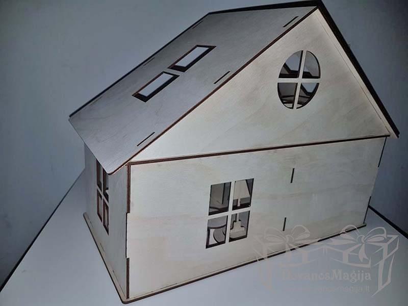 Medinis konstruktorius lėlių namas 20x40x30cm