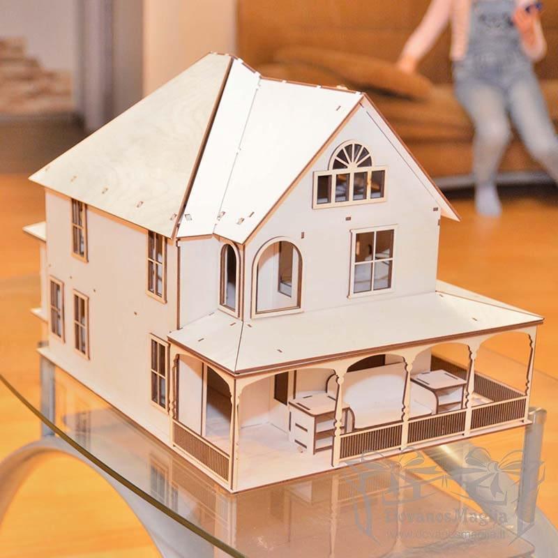 Medinis konstruktorius lėlių namas 40x60x30cm