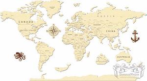 Medinė Pasaulio dėlionė 110x60cm
