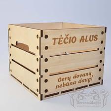 Medinė dėžutė 9 buteliams 22x22x18cm