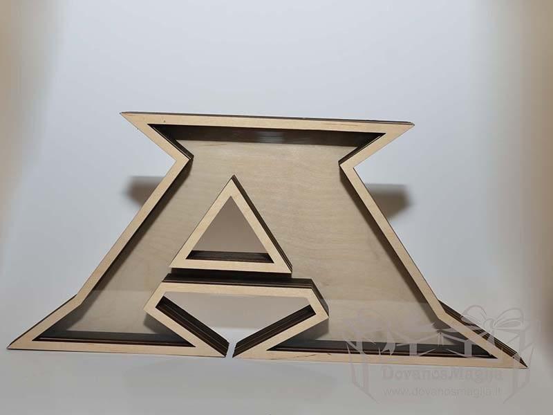 Medinė taupyklė vardo raidė 10x20x4cm