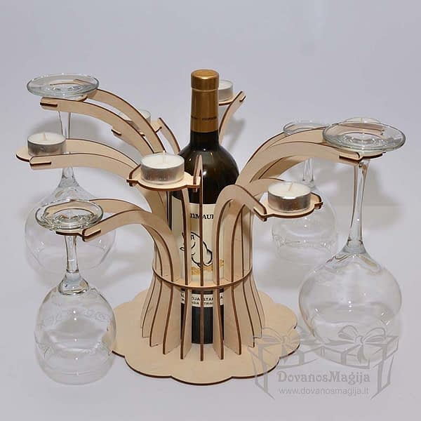Medinis butelio taurių ir žvakių stovas