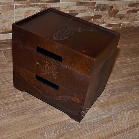 Medinė dėžutė peiliams 37x27xh33cm