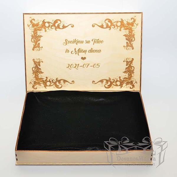 Medinė dėžutė nuotraukai su indeklu uždengiama