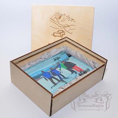 Medinė dėžutė nuotraukai su indeklu iš d